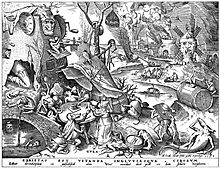 A black-and-white illustration of a chaotic scene