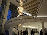 Bucuresti, Romania. Teatrul National Bucuresti. Holul de la intrare. Scara si candelabru. 12 Dec. 2016.jpg