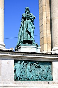 Béla's statue on Heroes' Square in Budapest