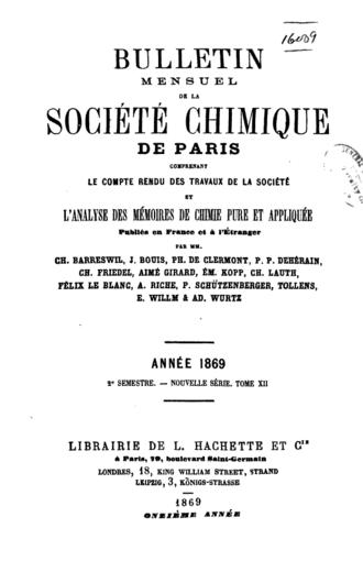 """Bulletin de la Société Chimique de France - An 1869 volume of the """"Bulletin"""""""