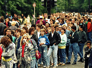 Queue area - A queue of people waiting for a Michael Jackson concert in West Germany (1988).