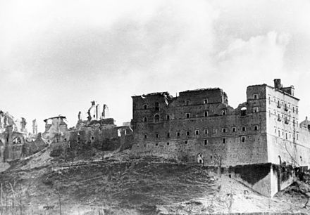 The 11th-century Abbey of Monte Cassino, almost completely destroyed as an effect of Allied bombings in 1944, stands as a powerful symbol of the huge devastation Italy suffered during the war. Bundesarchiv Bild 146-2005-0004, Italien, Monte Cassino.jpg