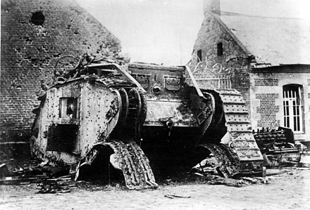 1917: a British tank destroyed by the Germans on the Western Front during World War I. (Battle of Cambrai). Bundesarchiv Bild 183-R27012, Bei Cambrai erbeuteter englischer Panzer.jpg