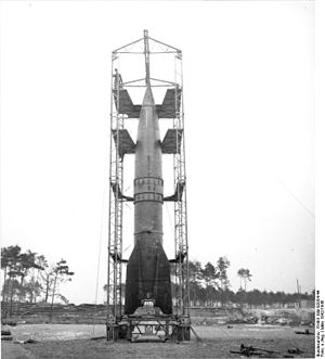 Launch pad - V2 rocket on launch pad, 1942