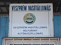 Bus terminal, dispatch building, sign, Veszprém railway station, 2016 Hungary.jpg