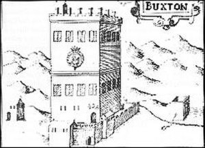 Old Hall Hotel - The tower, as depicted on a map from 1610