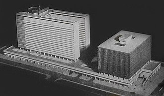 Caseros Prison - Scale model of the planned judicial complex; the courthouse (right) was never built.