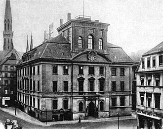 Fischerinsel - Cölln Town Hall, about 1880; Petrikirche in the background