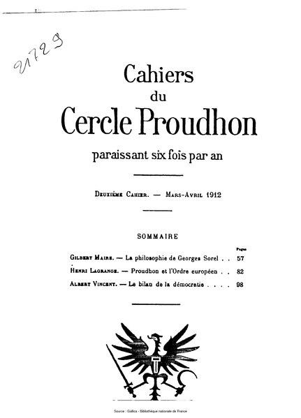 File:Cahiers du Cercle Proudhon, cahier 2, 1912.djvu