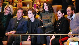 From left to right: Victoire Du Bois, Armie Hammer, Timothée Chalamet, Esther Garrel, Amira Casar, and Luca Guadagnino at the screening of Call Me by Your Name at the 2017 Berlin International Film Festival