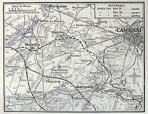 Battle of Cambrai (1917) - Image: Cambrai salient north, 1917