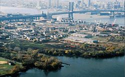 Former Riverside Prison (demolished) and Weeks Marine facilities seen beyond the Ben Franklin Bridge