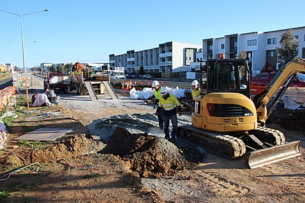 Construction of light rail in Canberra. The development of light rail became a major issue in the 2016 ACT general elections.. Canberra Light Rail construction in Harrison 2.jpg