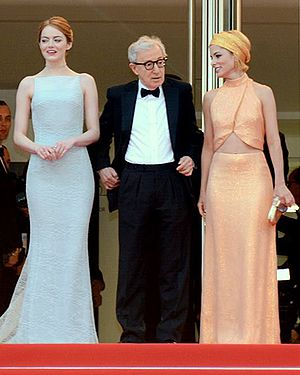 Irrational Man (film) - Emma Stone, Woody Allen and Parker Posey promoting the film at the 2015 Cannes Film Festival.