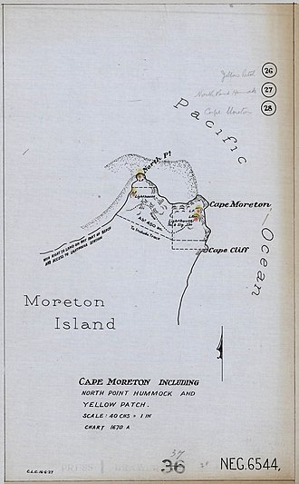 Moreton Island lighthouses - 1927 Plan of the northern tip of Moreton Island, showing the locations of Cape Moreton Light, North Point Light and Yellow Patch Light