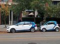Car2Go 4-door Mercedes-Benz B Class and a 2-door Smart ForTwo in Downtown Vancouver.jpg