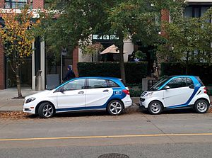 Car2Go - Car2Go 4-door Mercedes-Benz B-Class and a 2-door Smart fortwo in Downtown Vancouver