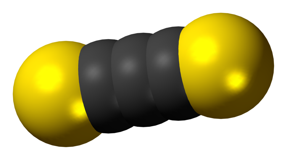 Space-filling model of the carbon subsulfide molecule