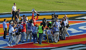 Carl Edwards - Edwards celebrating after clinching the 2007 Busch Series Championship after the fall Texas race