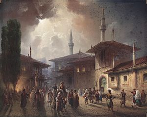 Crimean Tatars - The Crimean Khan's Palace in Bakhchysaray, 1857, by Carlo Bossoli.