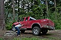 Cascadian and his 2003 red Ford F150 truck parked in front of Summit lake in Clearwater Wilderness, WA.jpg