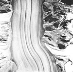 Casement Glacier, valley glacier with medial moraines, August 22, 1965 (GLACIERS 5289).jpg