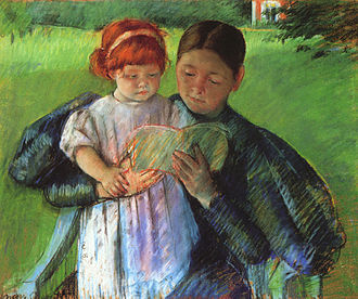Babysitting - 1895 painting of a nurse reading to a little girl