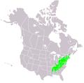 Castanea dentata range map.PNG