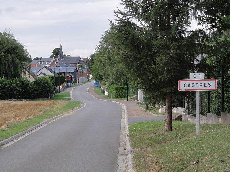 Castres (Aisne) city limit sign