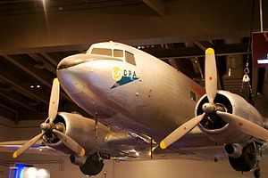 Cathay Pacific - Betsy, a DC-3, Cathay Pacific's first aircraft, in Hong Kong Science Museum.