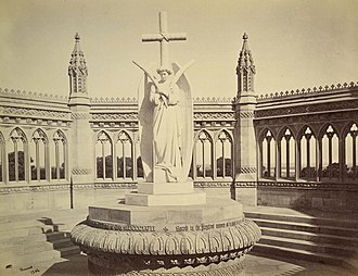Siege of Cawnpore - A memorial erected (circa 1860) by the British at the Bibi Ghar well after the Mutiny was crushed. It was the work of Carlo Marochetti. After Indian independence the memorial was moved to the Memorial Church, Cawnpore. Albumen silver print by Samuel Bourne, 1860.