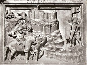 Guido Tarlati - Panel from Guido Tarlati's tomb representing the capture of the castle of Caprese.