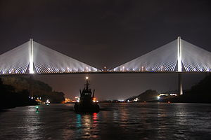 Centennial Bridge in Panama at night.jpg