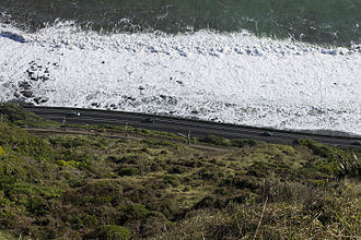 New Zealand State Highway 1 - Centennial Highway between Paekakariki and Pukerua Bay. An entirely new route completed in 1940 it is to be replaced by a new route through Transmission Gully