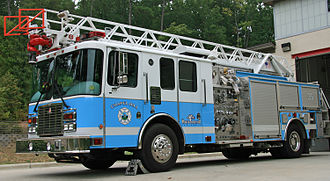 Chapel Hill, North Carolina - Chapel Hill fire truck, painted with the colors of the University of North Carolina at Chapel Hill