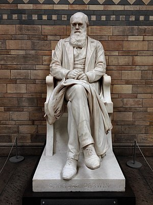 Natural History Museum, London - Statue of Charles Darwin by Sir Joseph Boehm in the main hall