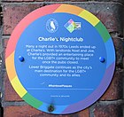 Rainbow plaque outside Charlie's Nightclub