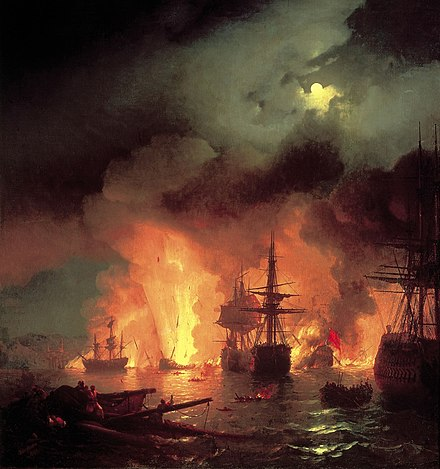July 5: Battle of Chesma, painting by Ivan Aivazovsky Chesmabattle.jpg