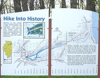Chicago Portage - Maps of the Chicago Portage, on a sign at Chicago Portage National Historic Site