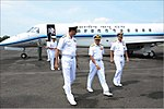 Chief of the Naval Staff Admiral Sunil Lanba being received by Vice Admiral AR Karve at naval air station INS Garuda.jpg