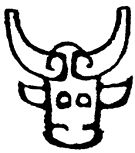 highly pictorial Shāng emblem character (牛 niú 'ox')