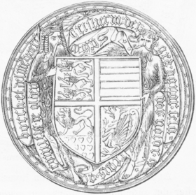 Sigilum secretum of Christian I of Denmark, featuring two woodwoses, 1449