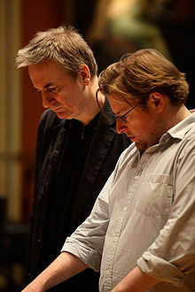 "Paul Morley (left) with Chris Austin, in rehearsal for Morley's ""Yet another example of the porousness of certain borders"" at the Royal Academy of Music"
