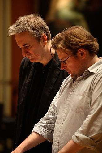 Christopher Austin - Christopher Austin (right) and Paul Morley in rehearsal at the Royal Academy of Music.