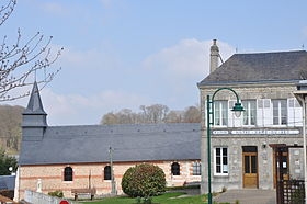 Church and town hall of Notre-Dame-du-Bec (France).JPG