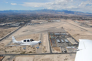 North Las Vegas Airport - View from an SR22 aircraft over North Las Vegas Airport, March 2013.