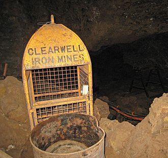 Clearwell Caves - Equipment inside the now preserved Clearwell Mine.