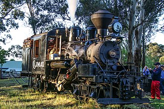 Climax locomotive - Climax 1694 at Emerald, Victoria preparing for a charter tour.