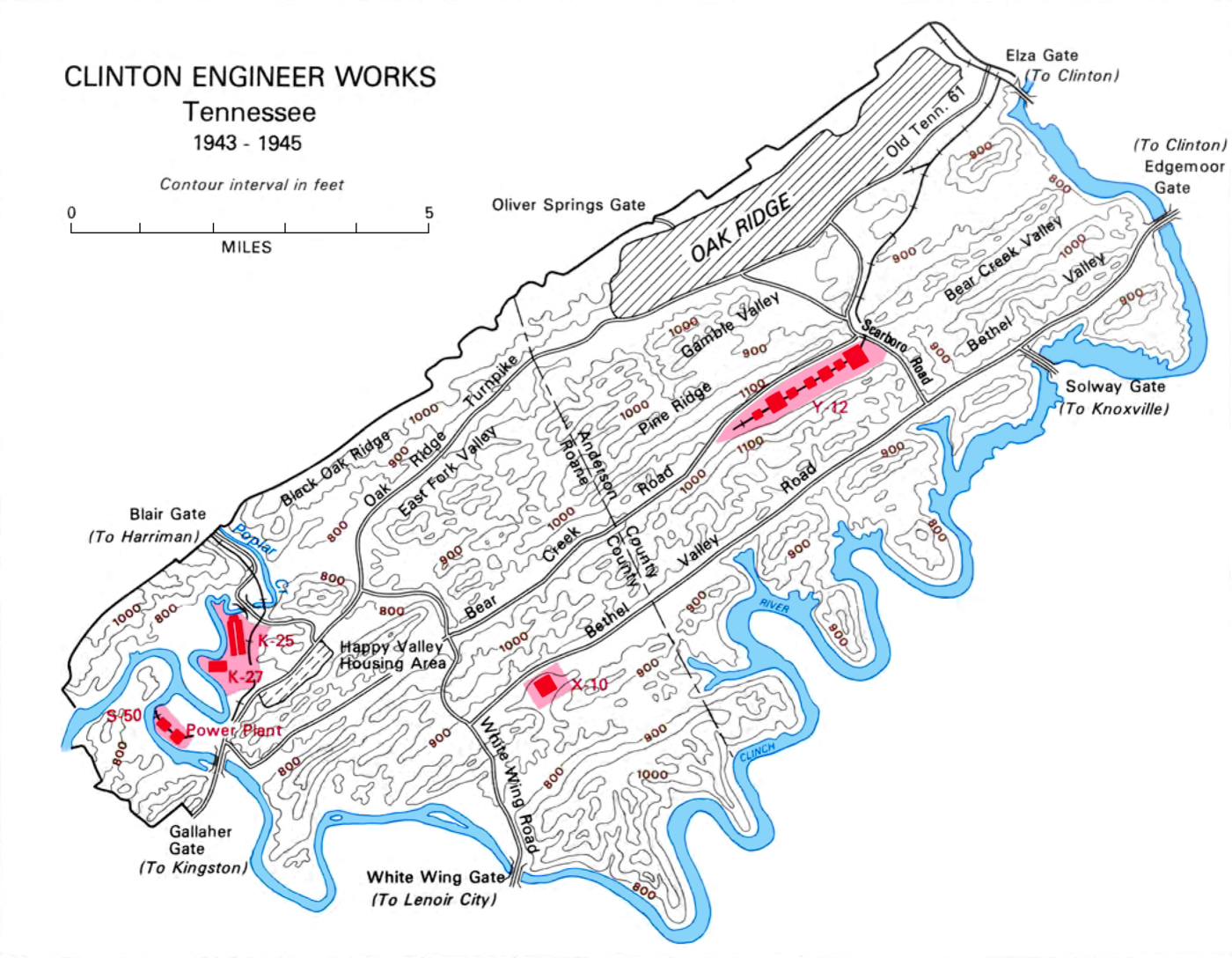Oak Ridge hosted several uranium separation technologies. The Y-12 electromagnetic separation plant is in the upper right. The K-25 and K-27 gaseous diffusion plants are in the lower left, near the S-50 thermal diffusion plant. (The X-10 was for plutonium production.) Clinton Engineer Works.png