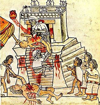 Sacrifice - Aztec human sacrifice, from Codex Mendoza, 16th century (Bodleian Library, Oxford).